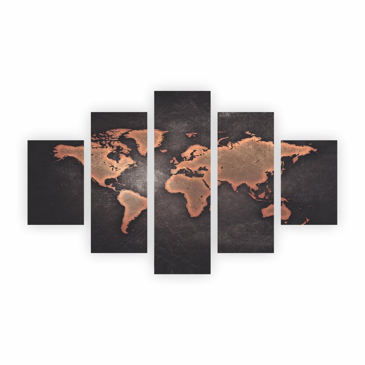 Quadro Mapa Mundi Decorativo em Tela Canvas