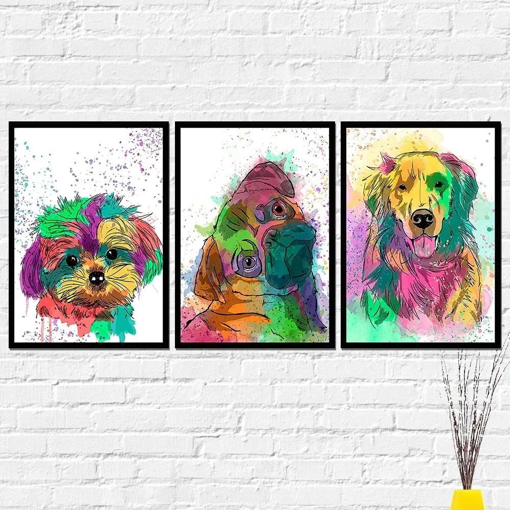 Quadros Cachorro Dog Colorido Kit 3 Decorativos 40x60