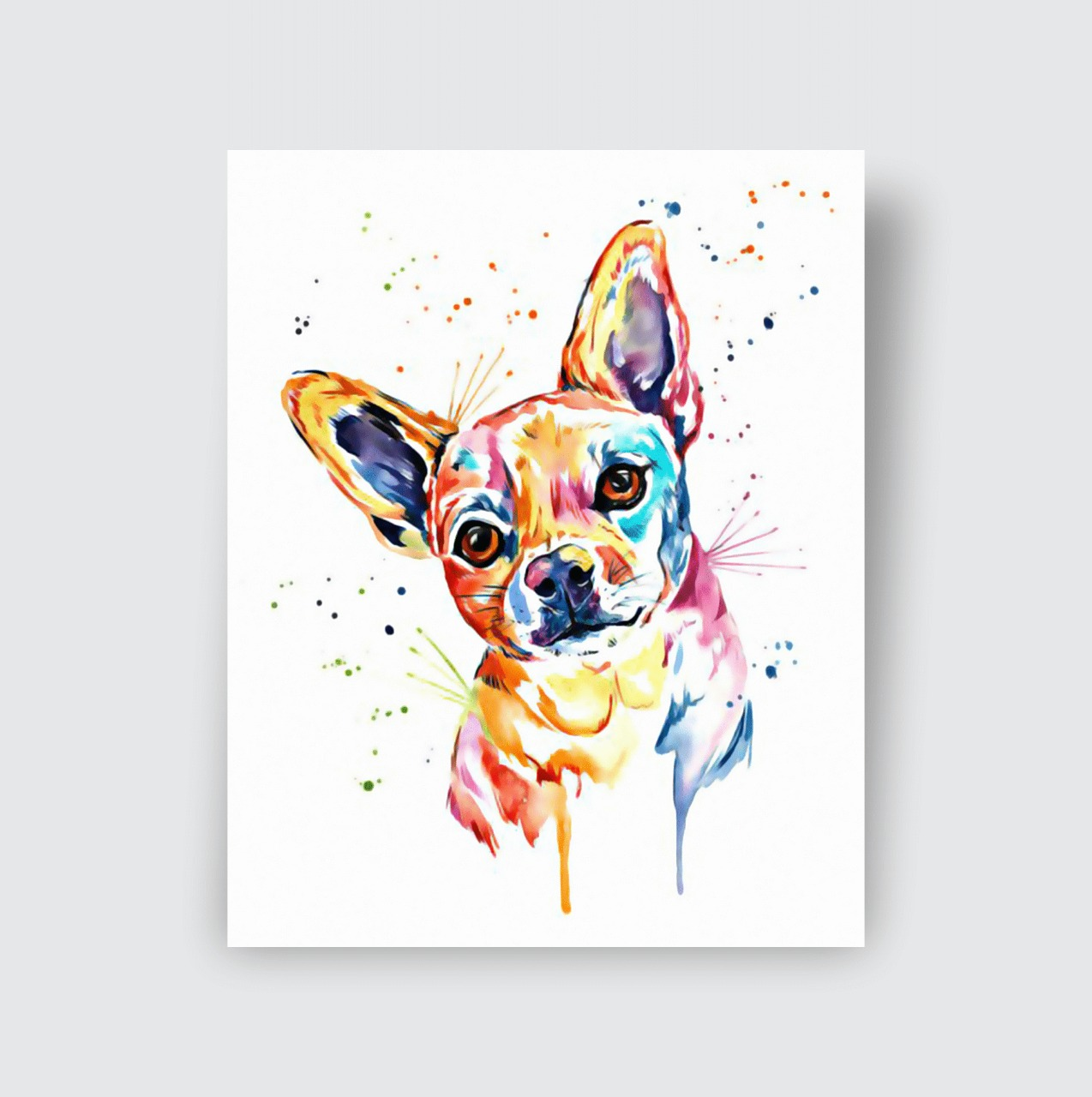 Quadro Canvas Cachorro Chihuahua Animais Tinta 50x40cm