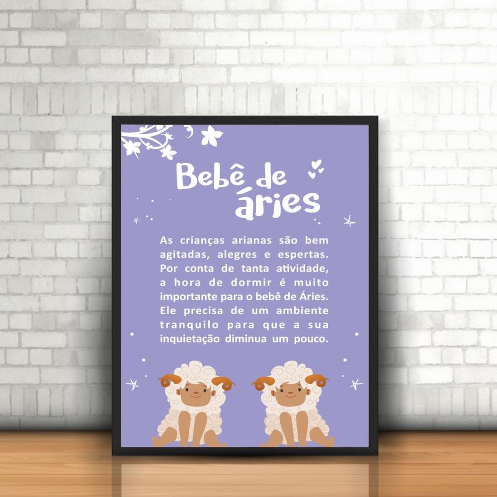 Quadro Signos Zodíaco Astrologia Bebê de Áries com Moldura