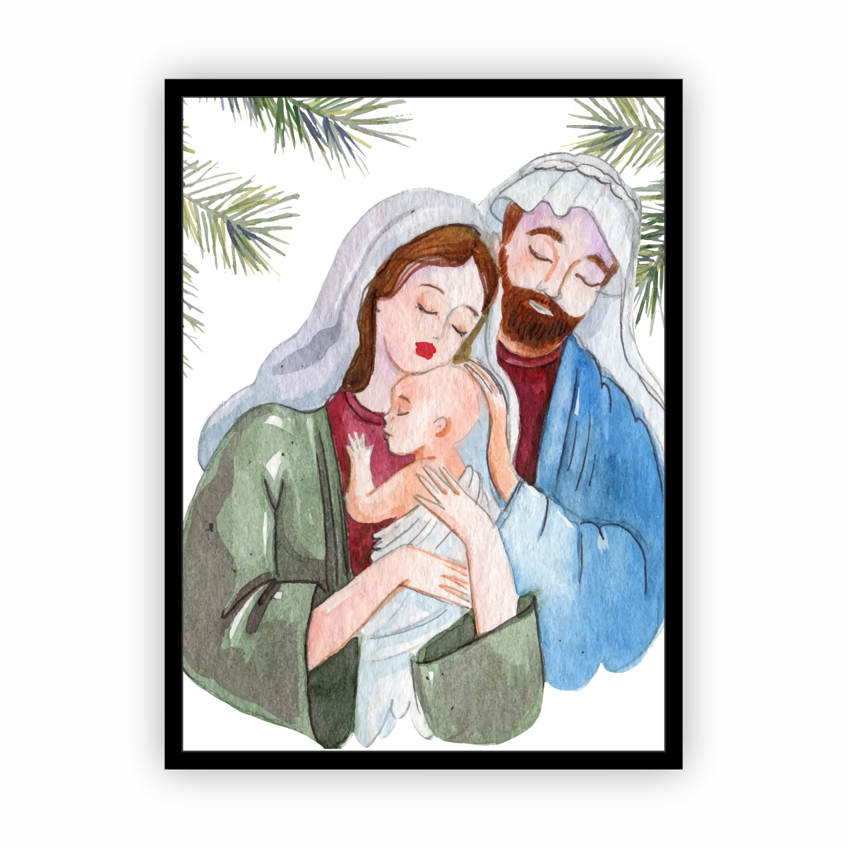 Quadro com Moldura Preta Natalino Presépio Jesus 30x40cm