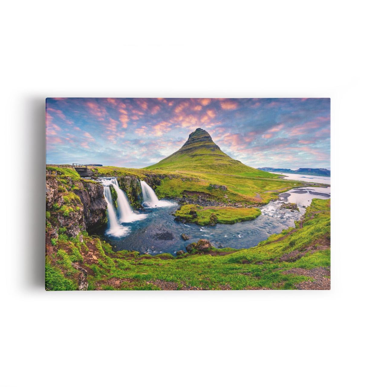 Quadro Paisagem Islândia Cachoeira Decorativo 100x70cm