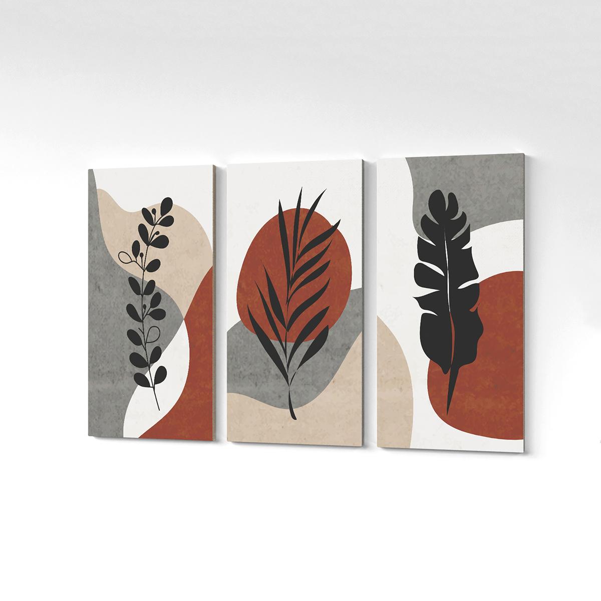 Quadro Canvas Minimalista Plantas Folhas Colorido 125x65cm