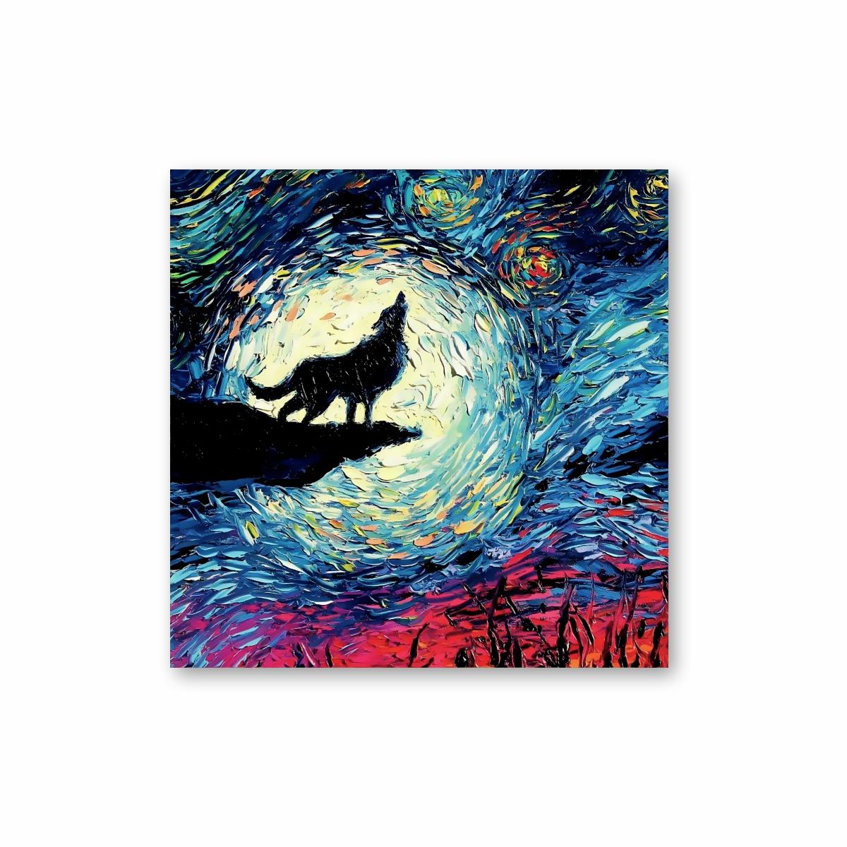 Quadro em Tela Canvas Lobo Uivando Noite Estrelada 40x40
