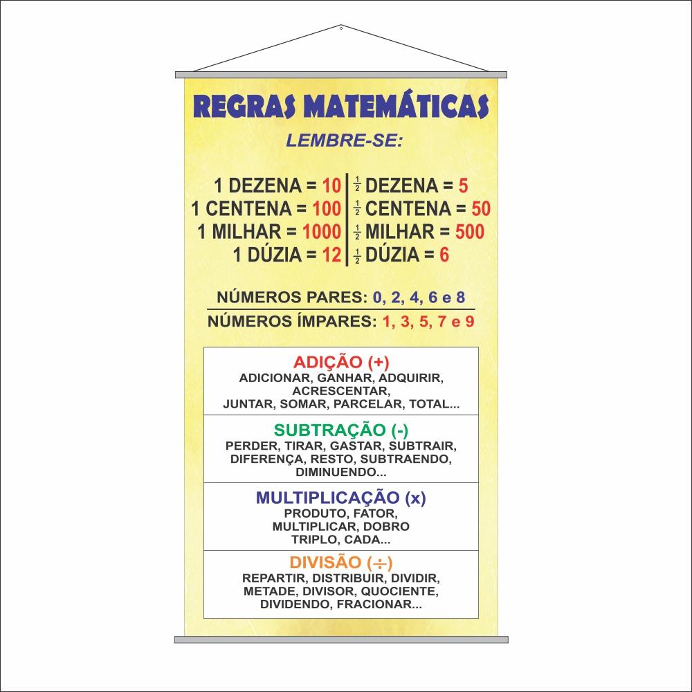 Banner Escolar Pedagógico Regras Matemáticas