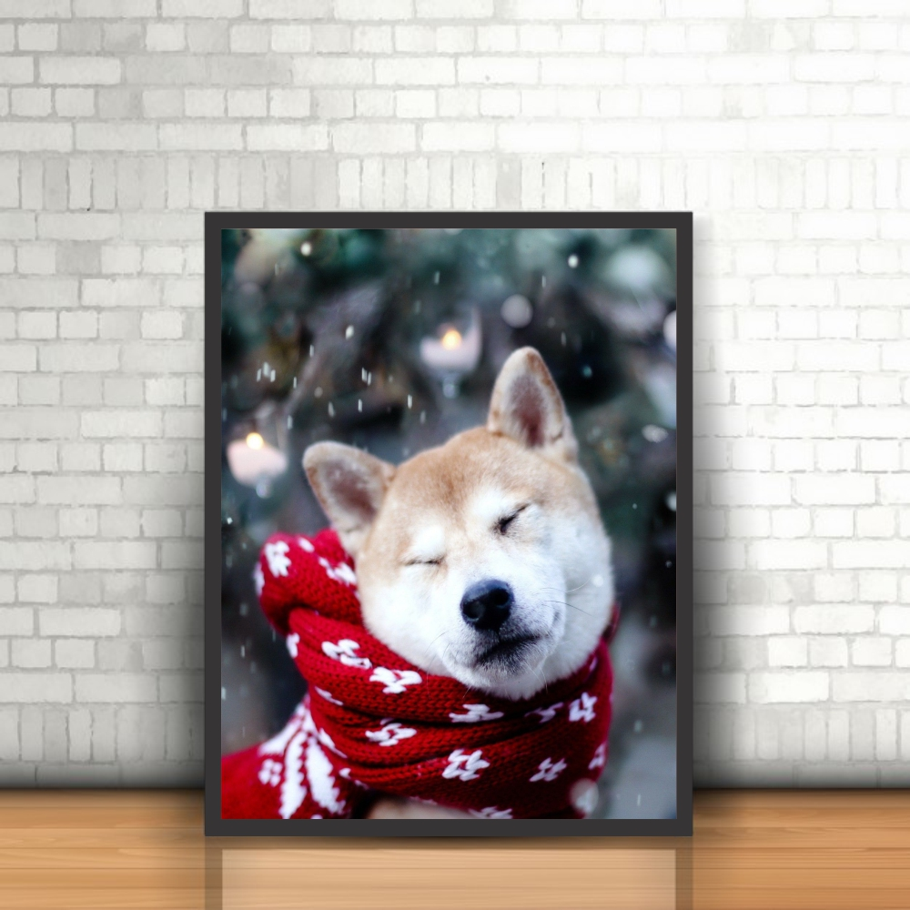 Quadro Animais Cachorro Akita Inu Pet Neve Moldura 30x40cm