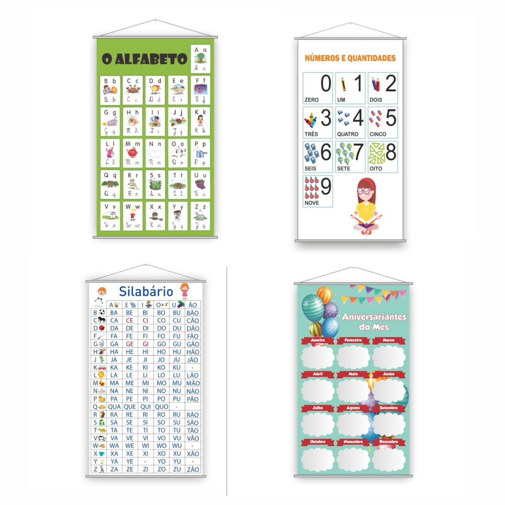 Kit 4 Banners Pedagógicos Escolares para primeiro ano