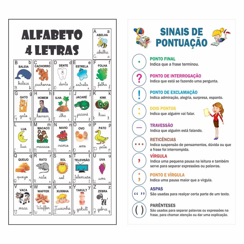 Kit de 2 Banners Pedagógico Alfabeto 4 Letras + Sinais de Pontuação