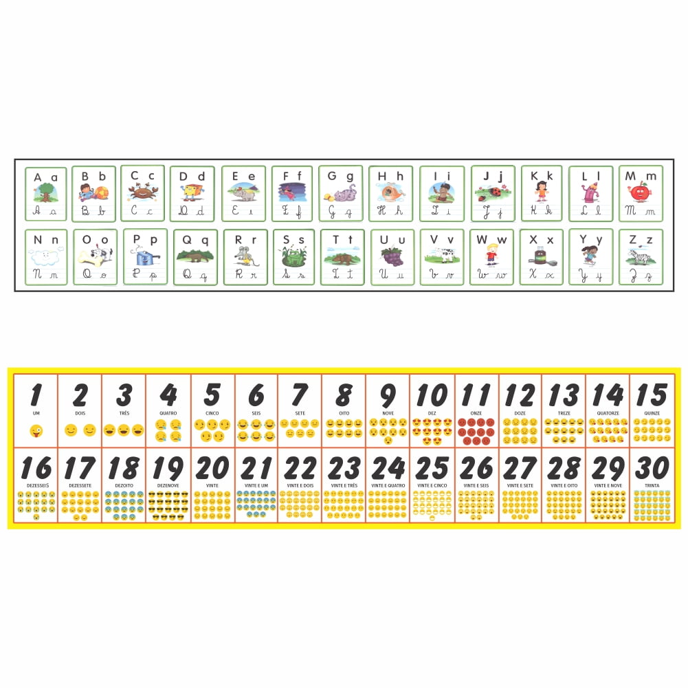 Kit de Banners - Faixa Alfabeto + Faixa Números e Quantidades 0 a 30 (Emojis)