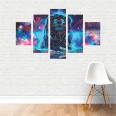 Quadro Leão - Galáxia - Nebulosa - Colorido Decorativo em tela Canvas