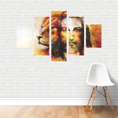 Quadro Jesus Cristo e Leão De Judá Oração Em Tela Canvas