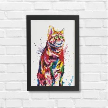 Kit 3 Quadros Moldura Preta Cachorro Gato Colorido 20x30cm