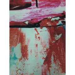 Quadro Abstrato Manchas Laranja Escuro em Canvas 180x70cm