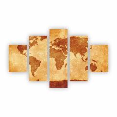 Quadro Mapa Mundi decorativo tons terrosos Canvas 110x65cm