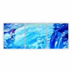 Quadro Abstrato Manchas Tons De Azul em Canvas 180x70cm