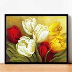 Quadro Pintura Rosas e Flores Moldura Preta