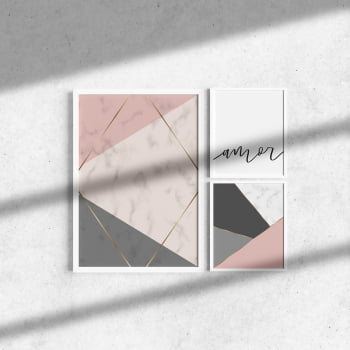 Kit 3 Quadros Moldura Branca Colorido Amor 20x30cm e 40x60cm