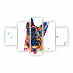 Quadro Canvas Cachorro Tinta Colorida