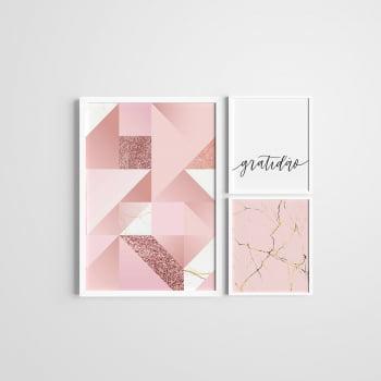 Kit 3 Quadros Moldura Branca Rosa Gratidão 20x30cm e 40x60cm