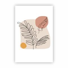 Quadro Canvas Desenho Colorido de Galhos Minimalista 30x40cm