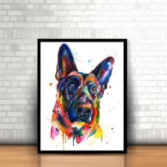 Quadro Cachorro Tinta Colorida Moldura Preta 30x40cm
