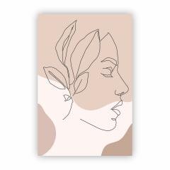 Quadro Canvas Desenho de Mulher e Planta Minimalista 30x40cm