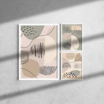 Kit 3 Quadros Moldura Branca Abstrato 20x30cm e 40x60cm