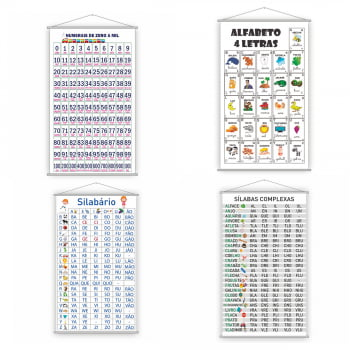 Kit 4 Banners Alfabeto + 1000 + Simples + Complexo 80x50cm