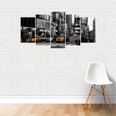 Quadro Times Square Nova Iorque New York Preto e Branco MDF