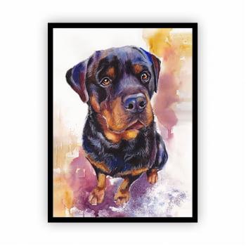 Quadro com Moldura Cachorro Pintura Aquarela 30x40cm