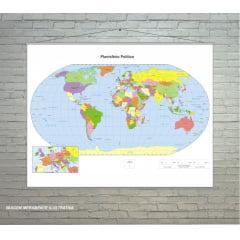 Banner Escolar Pedagógico Mapa Planisfério Político 130x100