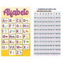 Kit de 2 Banners Pedagógicos Alfabetário 4 Letras + Os Numerais 0 a 1000